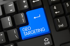 Geo Targeting - Black Key. 3D. Computer Keyboard with the words Geo Targeting on Blue Key. 3D Illustration Stock Images