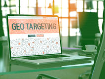 Geo Targeting Concept on Laptop Screen. 3D. Geo Targeting Concept Closeup on Landing Page of Laptop Screen in Modern Office Workplace. Toned Image with stock images