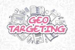 Geo Targeting - Doodle Magenta Word. Business Concept. Geo Targeting - Sketch Business Illustration. Magenta Hand Drawn Text Geo Targeting Surrounded by Stock Photo