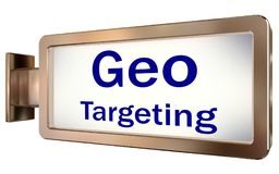 Geo Targeting on billboard background. Geo Targeting on wall light box billboard background , isolated on white Royalty Free Stock Image