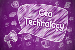 Geo Technology - Cartoon Illustration on Purple Chalkboard. Business Concept. Mouthpiece with Wording Geo Technology. Doodle Illustration on Purple Chalkboard Stock Photos
