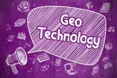 Geo Technology - Cartoon Illustration on Purple Chalkboard. Stock Photos