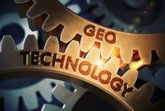 Geo Technology Concept. Golden Cogwheels. 3D Illustration. Geo Technology - Technical Design. Geo Technology on the Mechanism of Golden Cogwheels with Glow Stock Image