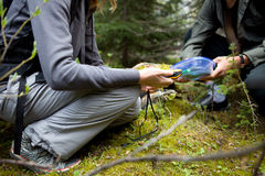 Geocache. Two people finding a geocache in the forest Royalty Free Stock Photos