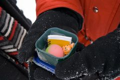 Geocache. Finding a hidden treasure while geocaching royalty free stock image