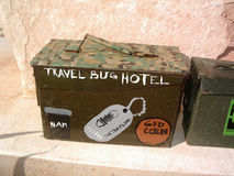 Geocache Travel Bug Hotel Royalty Free Stock Photography