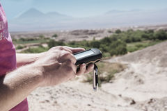 Geocaching Atacama desert Royalty Free Stock Photo
