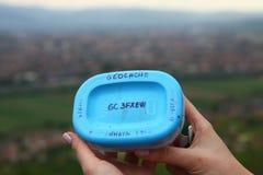 Geocaching dichtbij Sibiu Roemenië Royalty-vrije Stock Foto's