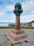 Geod?tischer Punkt in Hammerfest stockfotografie