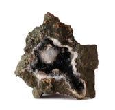 Geoda z Goethite, kwarc i kalcytu kryształami, obraz royalty free