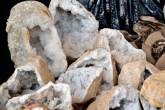 Geodes of quartz. Exposed for his(her,your) sale on a street market Stock Image