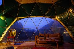 Geodesic Dome rental from Airbnb in the Blue Ridge Mountains of North Carolina. Tiny Home with beautiful interior decorating and C royalty free stock photo