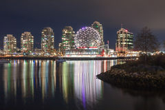 Geodesic Dome of World of Science Against Nighttime Vancouver. VANCOUVER, BC, CANADA - 19th November 2016: Geodesic dome of World of Science shines brightly over stock image