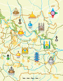 Geodesic Map of The Country with Landmarks Royalty Free Stock Image