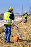 Geodesist measure land speak transmitter Stock Photo
