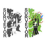 Geodesy and cartography. Symbol for surveyor Stock Image