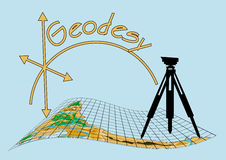 Geodesy. Theodolite on tripod with abstract map Royalty Free Stock Photo