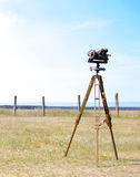 Geodetic device at the airport. Surveying instruments. Geodetic instruments on the airfield Royalty Free Stock Image