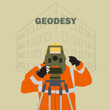 Geodetic engineer. Occupation surveyor illustration depicting a man in work clothes with a theodolite instrument against the backdrop of the project at home Royalty Free Stock Photo