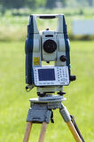 Geodetic equipment on the ground Stock Photo