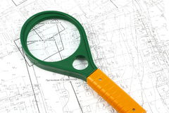 Geodetic map. Geodesic map on which placed various objects Royalty Free Stock Image