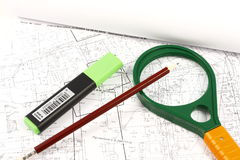 Geodetic map. Geodesic map on which placed various objects Stock Photos