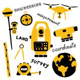 Geodetic measuring equipment, engineering technology for land area survey. Funny doodle hand drawn vector illustration. stock illustration