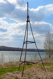 Geodetic point on the Bank of the river Tom Stock Photography