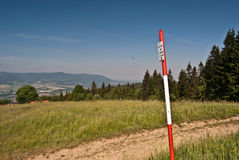 Geodetic point on hill near Bahenec Royalty Free Stock Images