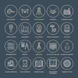 Geodetic survey engineering vector flat line icons. Geodesy equipment, tacheometer, theodolite, tripod. Geological. Research, building measurement inspection Royalty Free Stock Images