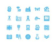 Geodetic survey engineering vector flat line icons. Geodesy equipment, tacheometer, theodolite, tripod. Geological. Research, building measurements Royalty Free Stock Photos