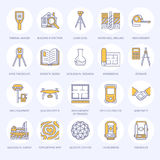 Geodetic survey engineering vector flat line icons. Geodesy equipment, tacheometer, theodolite, tripod. Geological Royalty Free Stock Images