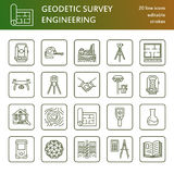 Geodetic survey engineering vector flat line icons. Geodesy equipment, tacheometer, theodolite, tripod. Geological Royalty Free Stock Image
