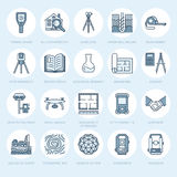 Geodetic survey engineering vector flat line icons. Geodesy equipment, tacheometer, theodolite, tripod. Geological Royalty Free Stock Photos