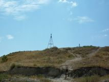 Geodetic tower in Feodosia. mount Mithridates stock photos