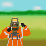 Geodetic works on nature. Occupation surveyor illustration depicting a man in work clothes with a theodolite instrument against the backdrop of the project at Royalty Free Stock Images