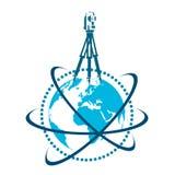 Geodetiskt apparat- och jordklotsymbol royaltyfri illustrationer