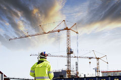 Geodetist and construction industry Stock Photography