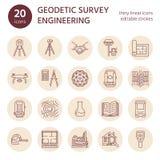 Geodezyjnej ankiety inżynierii mieszkania linii wektorowe ikony Geodezi wyposażenie, tacheometer, theodolite, tripod _ Obrazy Stock