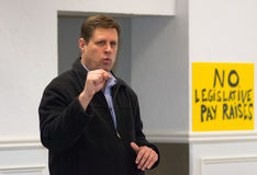 Geoff Diehl Emphasizes Point. Winchester, Massachusetts - January 2017 - Geoff Diehl Massachusetts House Rep emphasize point during speech at We The People Stock Image