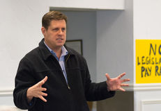 Geoff Diehl Shows Size. Winchester, Massachusetts - January 2017 - Geoff Diehl Massachusetts House Rep emphasize size of issue during speech at We The People Royalty Free Stock Photos