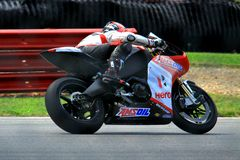 Geoff May races the EBR 1190RS. EBR 1190RS race motorcycle is driven by Geoff May on the track Stock Photos