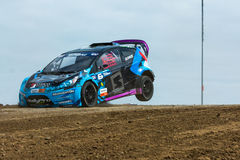 Geoff Sykes rally driver jumps Stock Image
