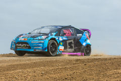 Geoff Sykes rally driver. San Pedro, CA - September 20, 2014:Geoff Syke rally driver at the Red Bull GRC Global Rallycross at the Port of Los Angeles in San Stock Images