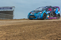 Geoff Sykes rally driver. San Pedro, CA - September 20, 2014:Geoff Syke rally driver at the Red Bull GRC Global Rallycross at the Port of Los Angeles in San Royalty Free Stock Image