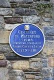 Geoffrey von Waterford-Plakette in Waterford lizenzfreies stockbild