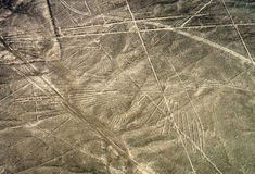 Geoglyphs and lines in the Nazca desert.  Peru Stock Photo