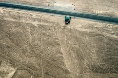 Geoglyphs and lines in the Nazca desert.  Peru Royalty Free Stock Photo