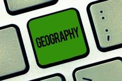 Geografi för textteckenvisning Begreppsmässig fotostudie av fysiska särdrag av jord och dess atmosfärnatur fotografering för bildbyråer