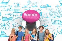 Geografi mot den rosa tryckknappen arkivfoto